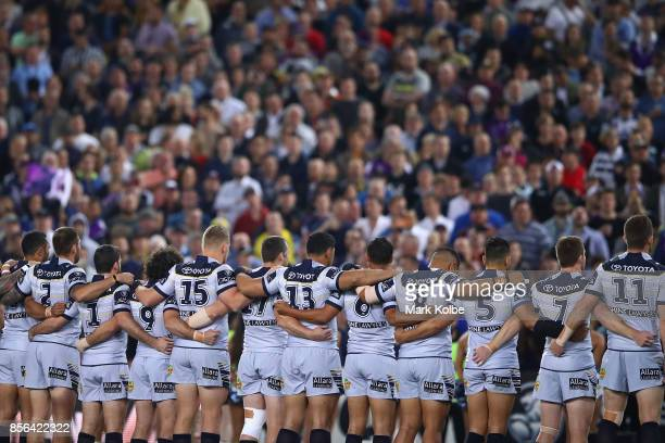 Cowboys sing the National Anthem before the 2017 NRL Grand Final match between the Melbourne Storm and the North Queensland Cowboys at ANZ Stadium on...
