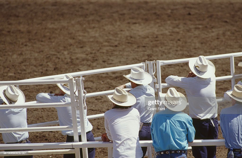 Cowboys watching Calgary stampede : Stockfoto