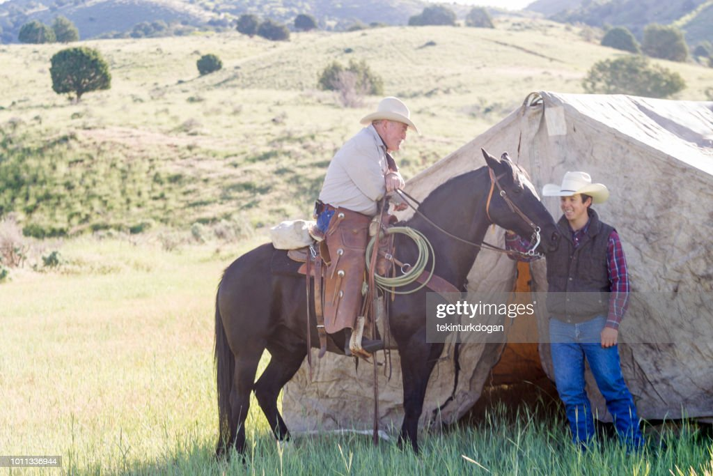 cowboys with rural tent at santaquin valley of Salt lake City SLC Utah USA  Stock & Cowboys With Rural Tent At Santaquin Valley Of Salt Lake City Slc ...