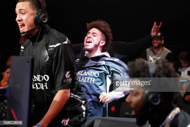 cowboyxcollazo of Magic Gaming reacts during the game against Mavs Gaming on July 27 2018 at the NBA 2K Studio in Long Island City New York NOTE TO...