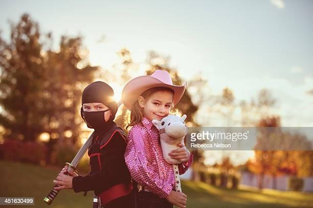 cowgirl and ninja on Halloween