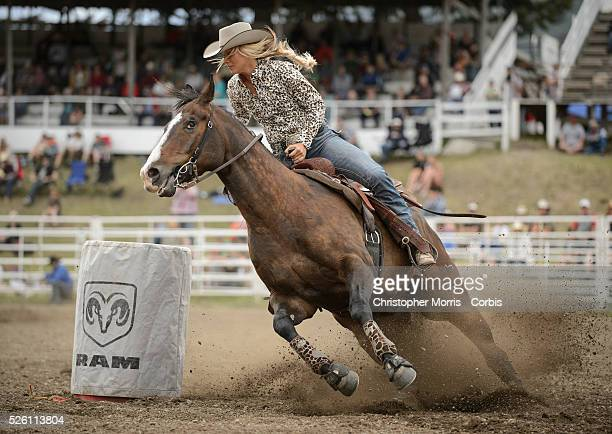A cowgirl competing in barrel racing competition at the Falkland Stampede
