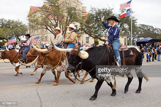 cowgirl, cowboys riding longhorn bulls, bandera texas veterans day parade - texas longhorn cattle stock photos and pictures