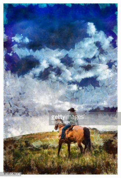 カウガール乗馬 - デジタル写真操作 - ウエスタン映画 ストックフォトと画像