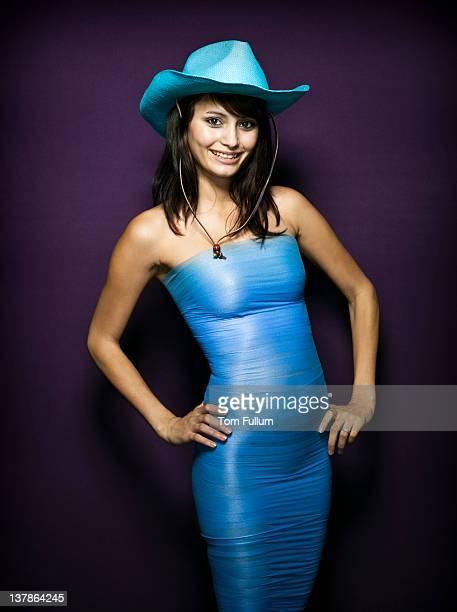 cowgirl in blue. - form fitted dress stock pictures, royalty-free photos & images
