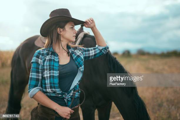 Cowgirl looking at distance