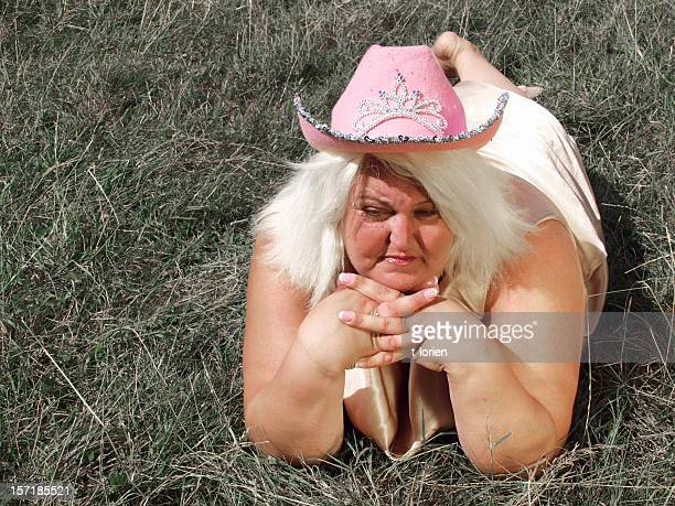 cowgirl! (b is beautiful) - fat blonde women stock photos and pictures