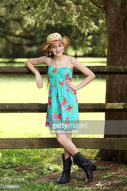 cowgirl portrait - beautiful girl smile braces vertical stock photos and pictures