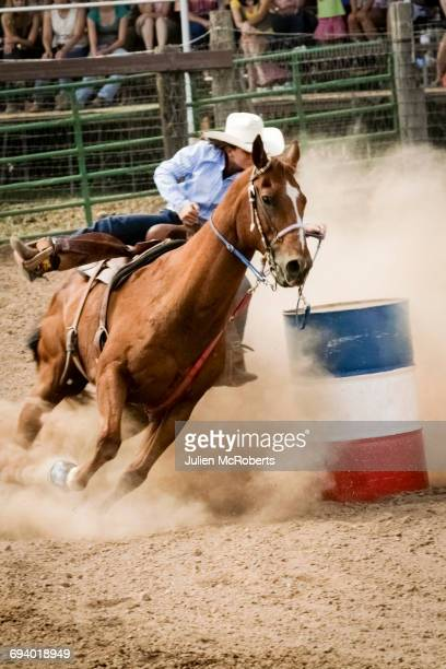 cowgirl riding horse near barrel in rodeo - estadio de los cowboys - fotografias e filmes do acervo