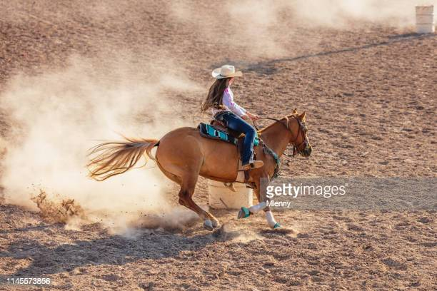 cowgirl rodeo barrel racing competition - spanish fork utah stock pictures, royalty-free photos & images
