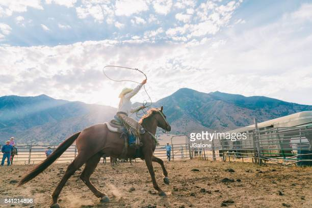 Cowgirl swinging her lasso ready to catch a calf for branding