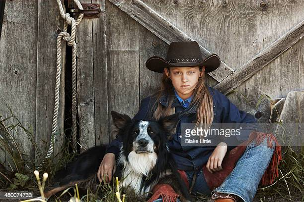 Cowgirl with dog
