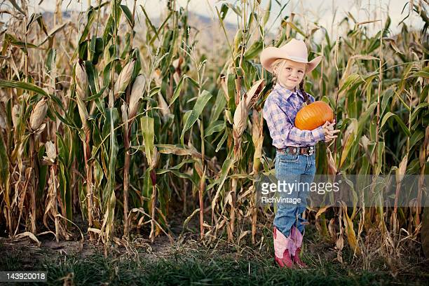 Cowgirl with Pumpkin