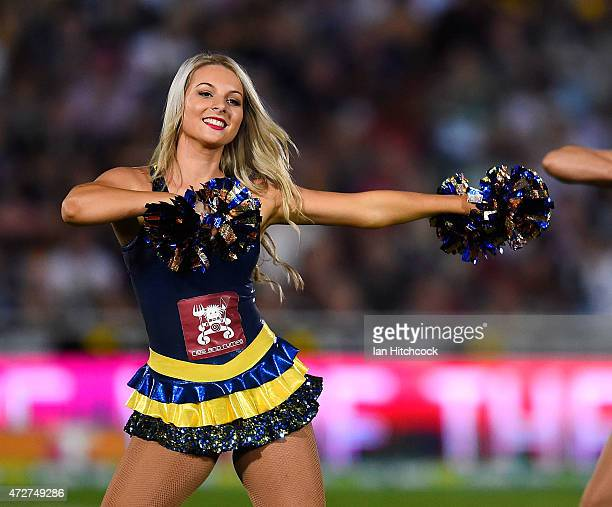 Cowgirls cheerleader performs during the round nine NRL match between the North Queensland Cowboys and the Canterbury Bulldogs at 1300SMILES Stadium...