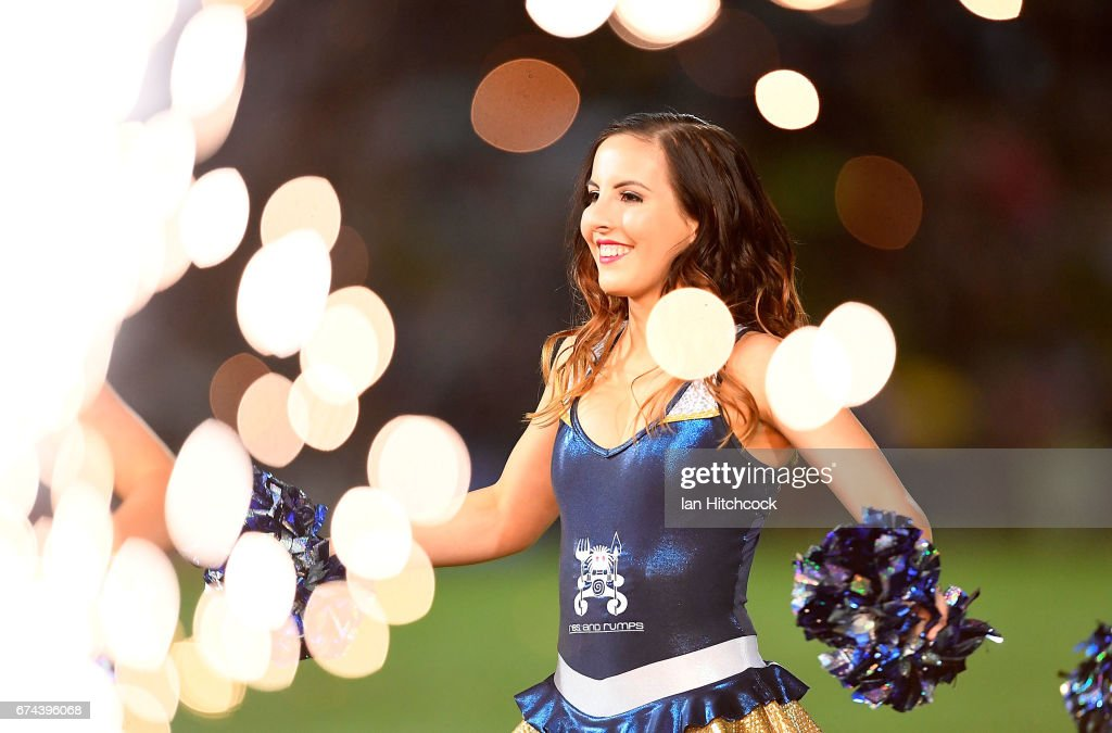 A Cowgirls cheerleader performs during the round nine NRL match between the North Queensland Cowboys and the Parramatta Eels at 1300SMILES Stadium on April 28, 2017 in Townsville, Australia.