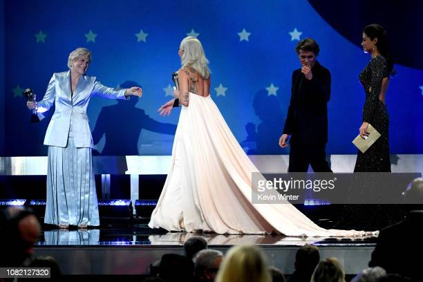 Cowinners Glenn Close and Lady Gaga accept the Best Actress awards Ms Close for 'The Wife' and Lady Gaga for 'A Star Is Born' onstage during the 24th...