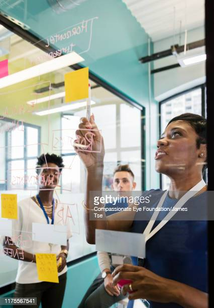 co-workers brainstorming in modern office - photography stock pictures, royalty-free photos & images