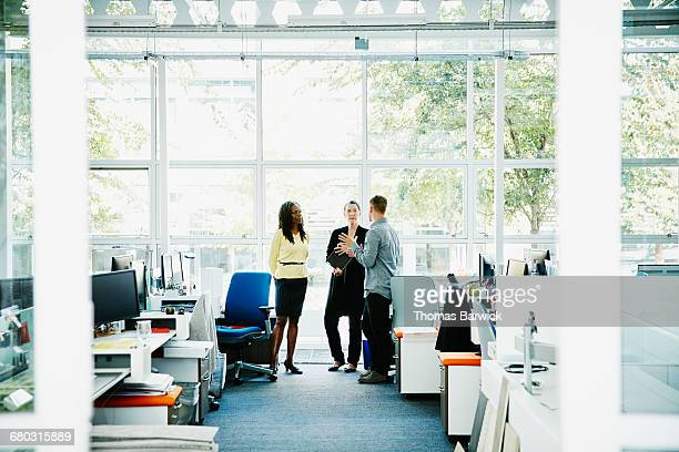 Coworkers in discussion in office