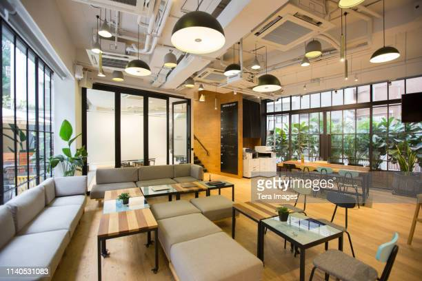 a co-working space area empty - lighting equipment stock pictures, royalty-free photos & images