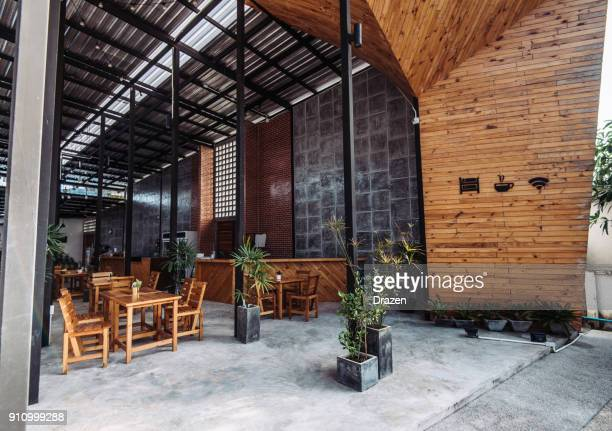 coworking space in modern establishment in the city - restaurant stock photos and pictures