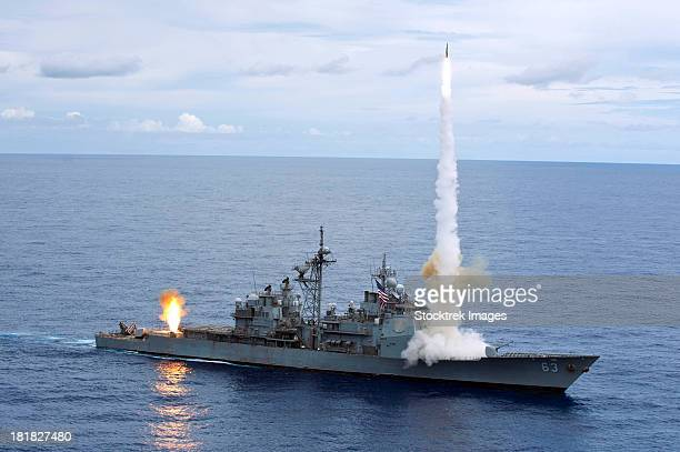 USS Cowpens fires Standard Missiles 2 at an airborne drone.