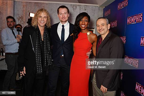 CoWriter David Bryan cast members Killian Donnelly Beverley Knight and cowriter Joe DiPietro attend the press night performance of 'Memphis The...
