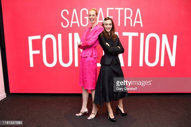 Cowriters and directors Dawn Luebbe and Jocelyn DeBoer attend the SAGAFTRA Conversations Greener Grass at The Robin Williams Center on October 16...