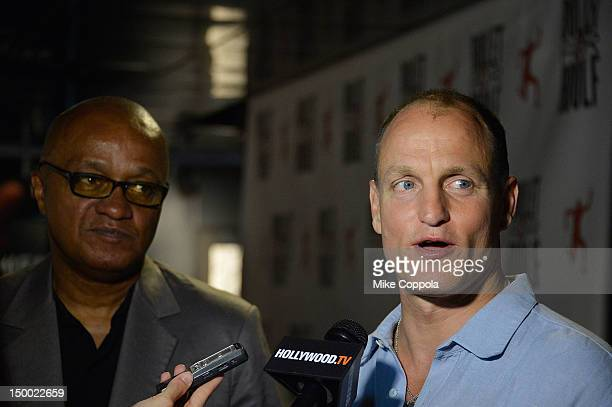 Cowriters Frankie Hyman and Woody Harrelson attend Bullet For Adolf Off Broadway Opening Night at New World Stages on August 8 2012 in New York City