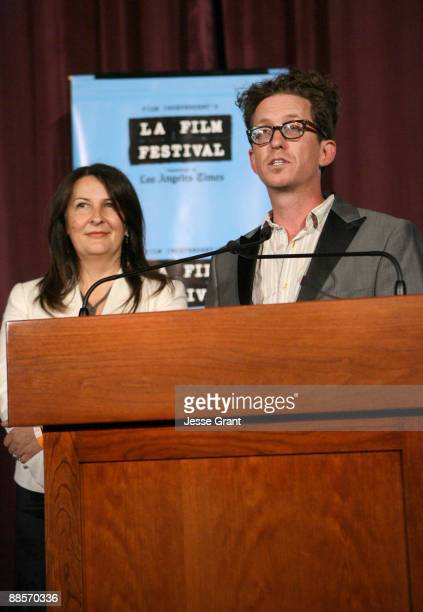 """Co-writers/directors Kieran Mulroney and Michele Mulroney speak at the 2009 Los Angeles Film Festival's Opening Night Premiere of """"Paper Man"""" held at..."""
