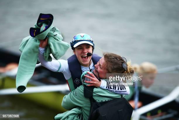 Cox Sophie Shapter celebrates race victory for Cambridge University Women's Boat Club Blue crew over Oxford University Women's Boat Club Blue crew...