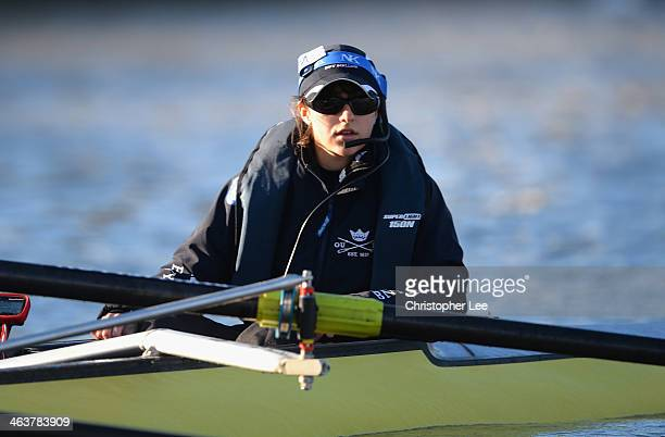 Cox Sophie Shawdon of Oxford University during the Oxford University Boat Club Trial Eights race held on the River Thames on January 19 2014 in...