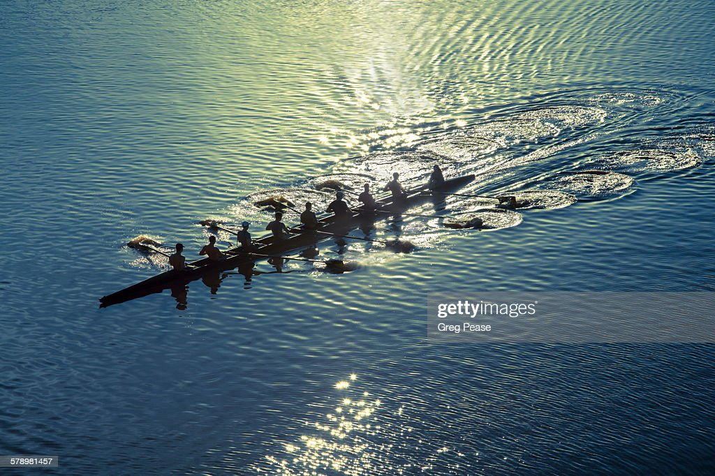 Coxed eight sweep rowing team : Stock Photo