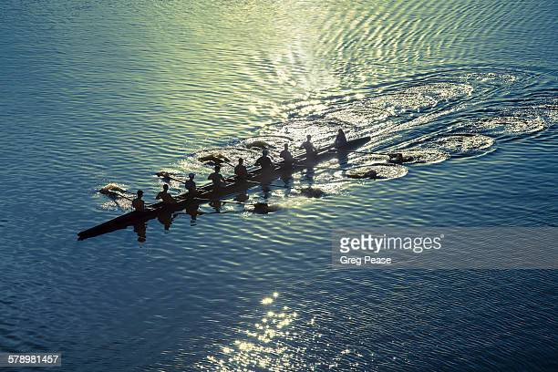 Coxed eight sweep rowing team