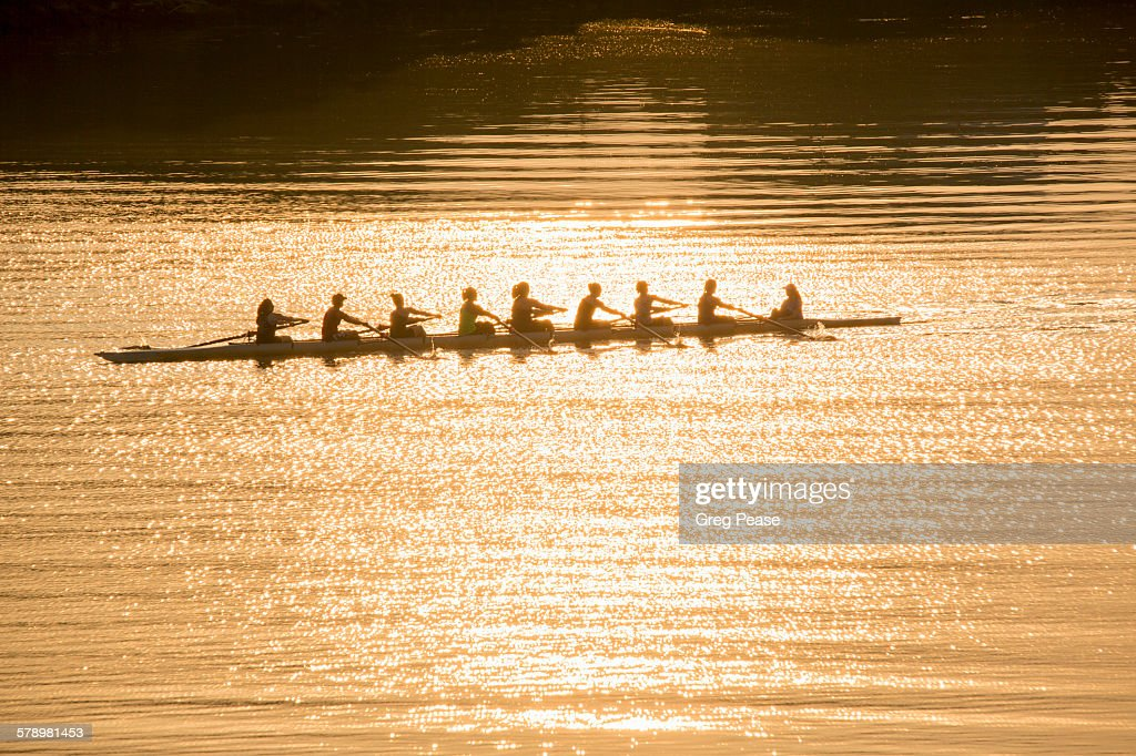 Coxed eight team sweep rowing : Stock Photo