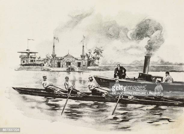 Coxed Four training rowing illustration by Werner Zehme woodcut from Moderne Kunst illustrated magazine published by Richard Bong 18911892 Year VI No...