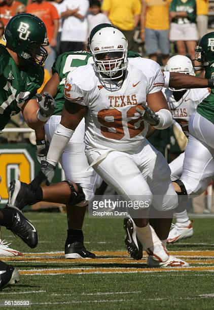 Coy Aune of the Texas Longhorns runs on the field during the game against the Baylor Bears on November 5 2005 at Floyd Casey Stadium in Waco Texas...