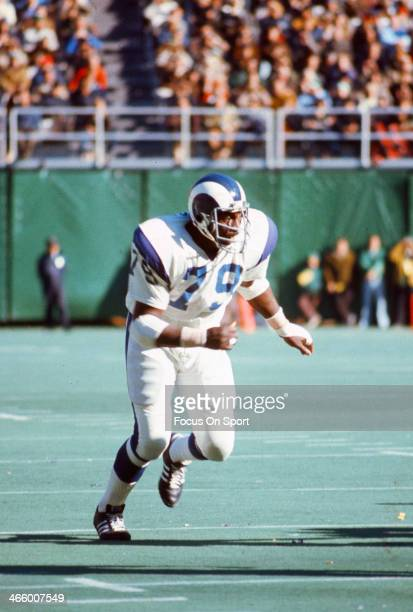 Coy Bacon of the Los Angeles Rams in action against the Philadelphia Eagles during an NFL football game October 15 1972 at Veterans Stadium in...