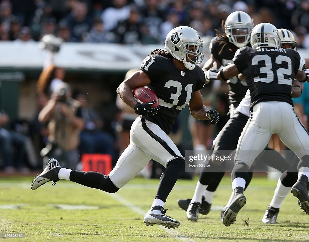 Coye Francies #31 of the Oakland Raiders in action against the New Orleans Saints at O.co Coliseum on November 18, 2012 in Oakland, California.