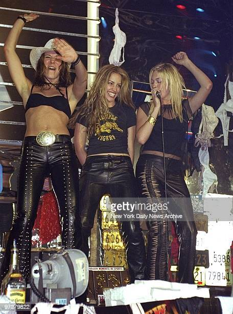 Coyote Girl Piper Perabo and LeAnn Rimes onstage at Roseland during party for the premiere of Coyote Ugly