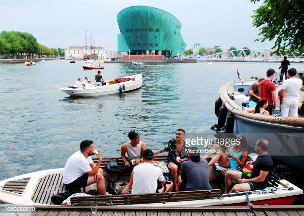 coziest waterside terrace in amsterdam. - nemo museum stock pictures, royalty-free photos & images