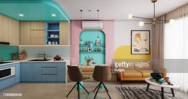 apartamento pequeno aconchegante e moderno - imagem a cores - fotografias e filmes do acervo