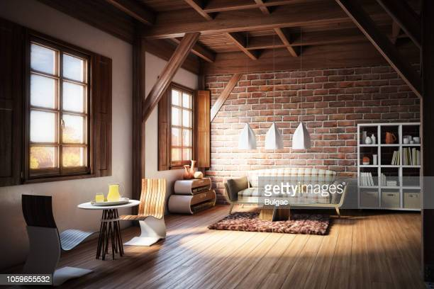cozy and rustic home interior - hardwood stock pictures, royalty-free photos & images