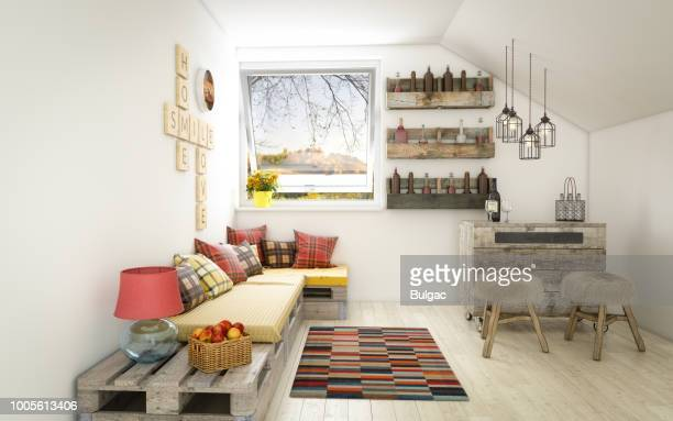 cozy and rustic interior design (day) - small stock pictures, royalty-free photos & images