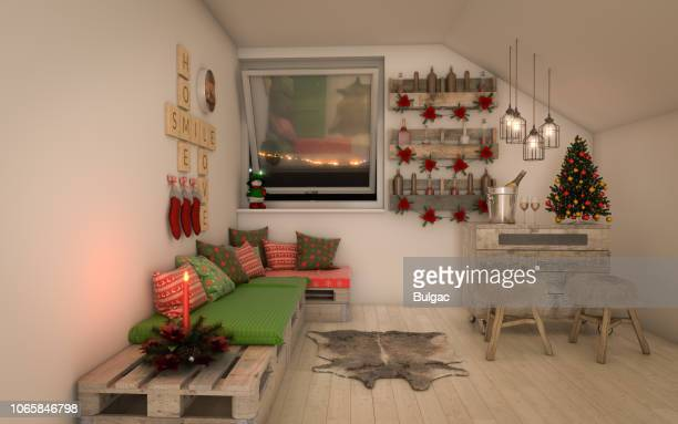 cozy and rustic interior design (christmas theme) - country christmas stock pictures, royalty-free photos & images