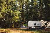 A cozy autumn campsite