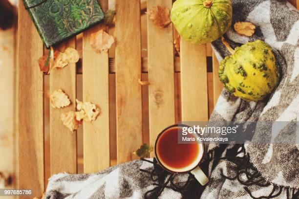 cozy autumn morning at country house, top view of cup of tea and warm blanket on wooden table
