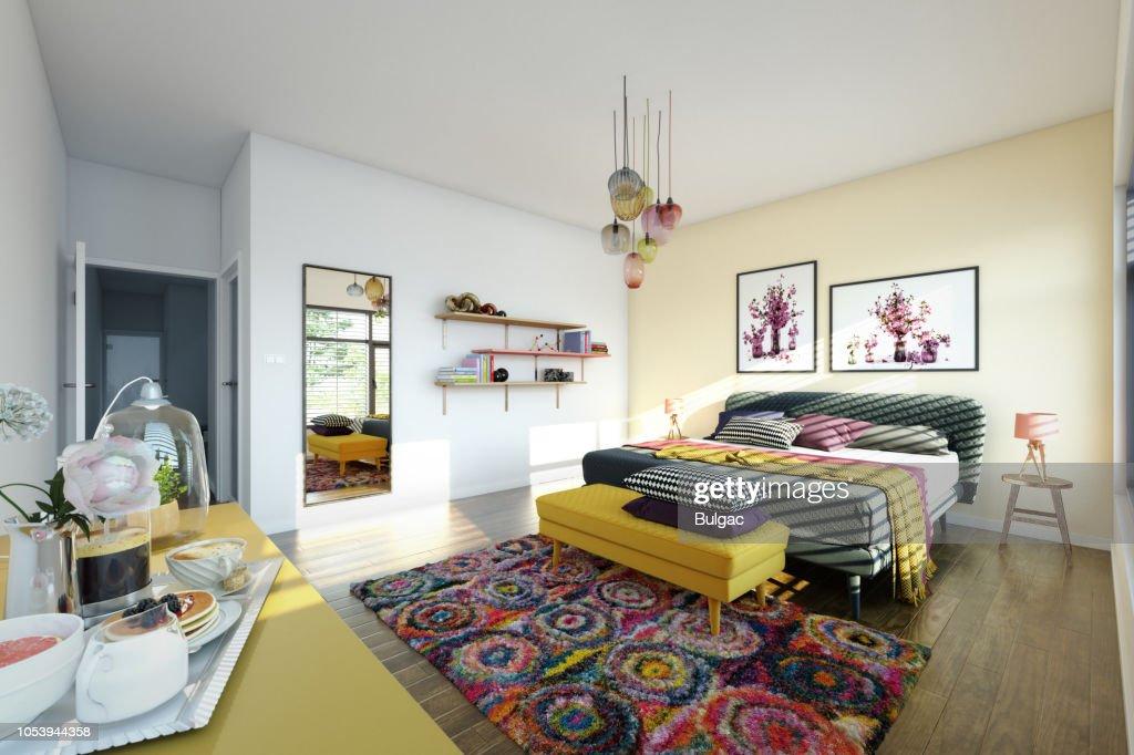 Acogedor dormitorio Interior : Foto de stock