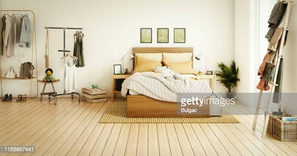 cozy bedroom - double bed stock pictures, royalty-free photos & images
