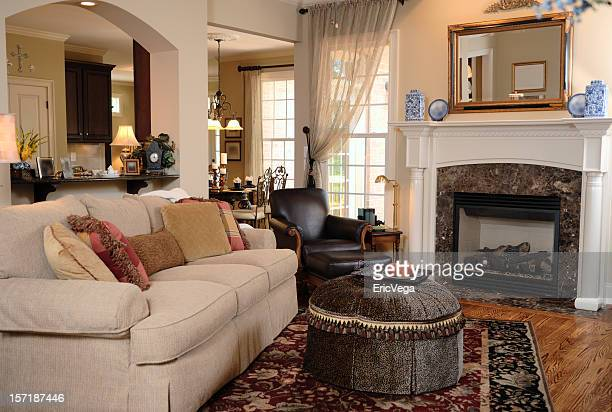 cozy family room - nook architecture stock pictures, royalty-free photos & images