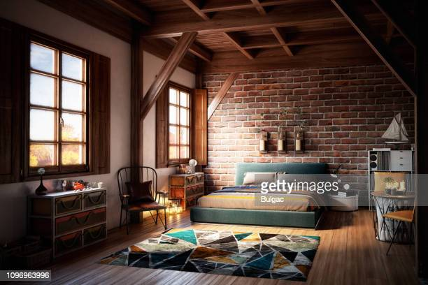 cozy home interior - bedroom stock pictures, royalty-free photos & images
